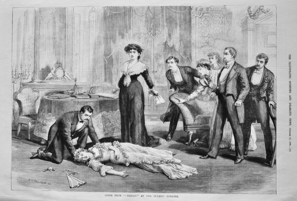 """Scene from """"Delilah"""" at the Olympic Theatre.  1880."""