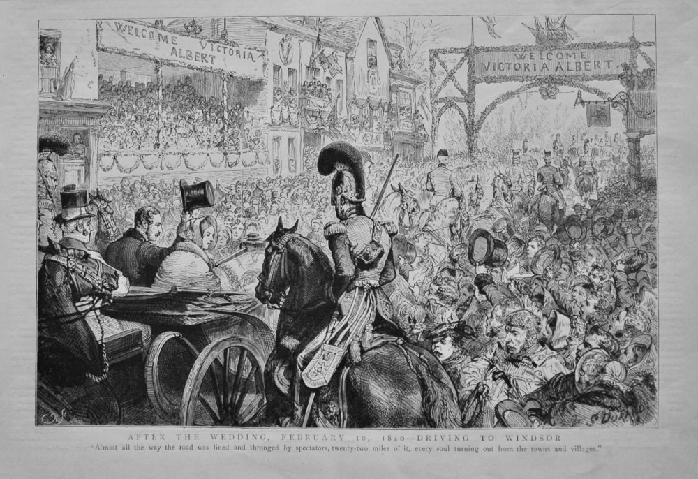 After the Wedding, February 10, 1840 - Driving to Windsor.  (Queen Victoria and Prince Albert of Saxe-Coburg)