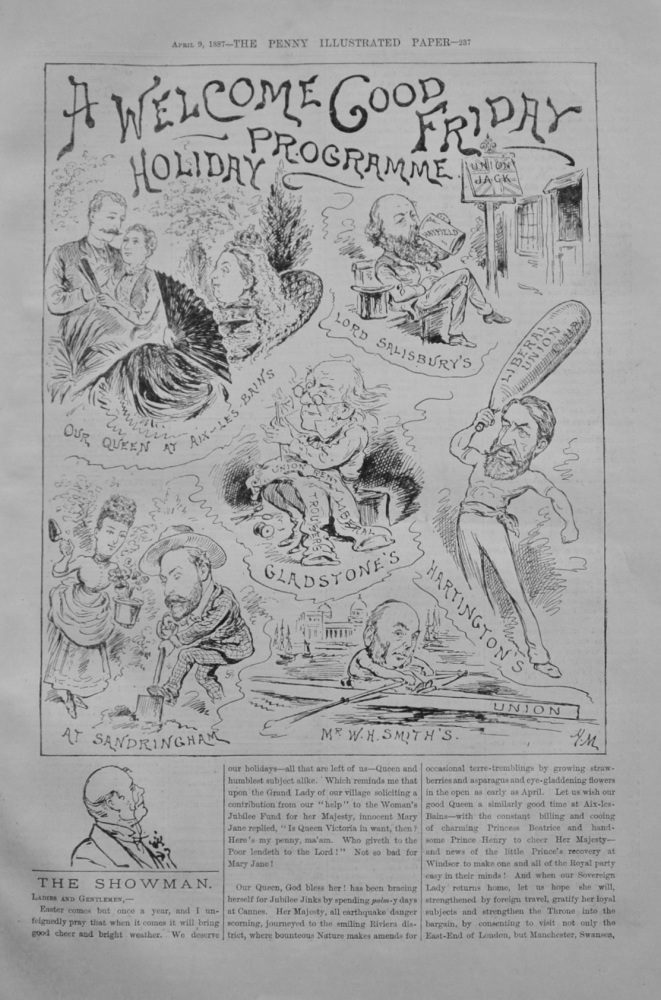 """The Showman - """"A Welcome Good Friday Holiday"""" - 1887"""