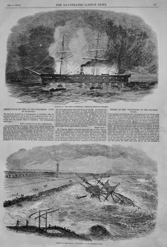 "Destruction by Fire of the Steamship ""City Of Pittsburg.""  1853."