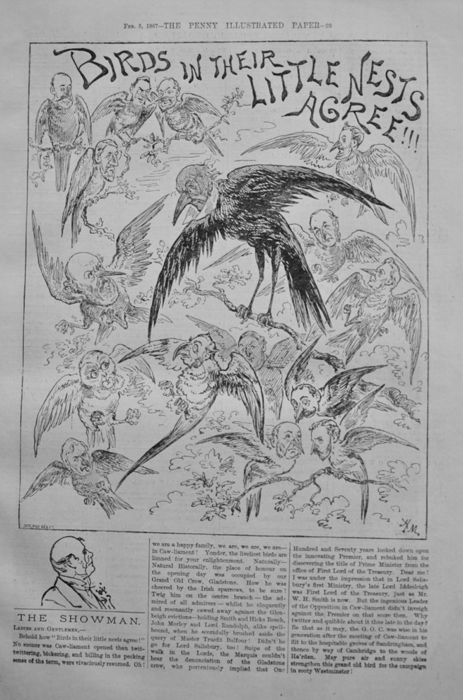 "The Showman - ""Birds in their Little Nests Agree!"" - 1887"