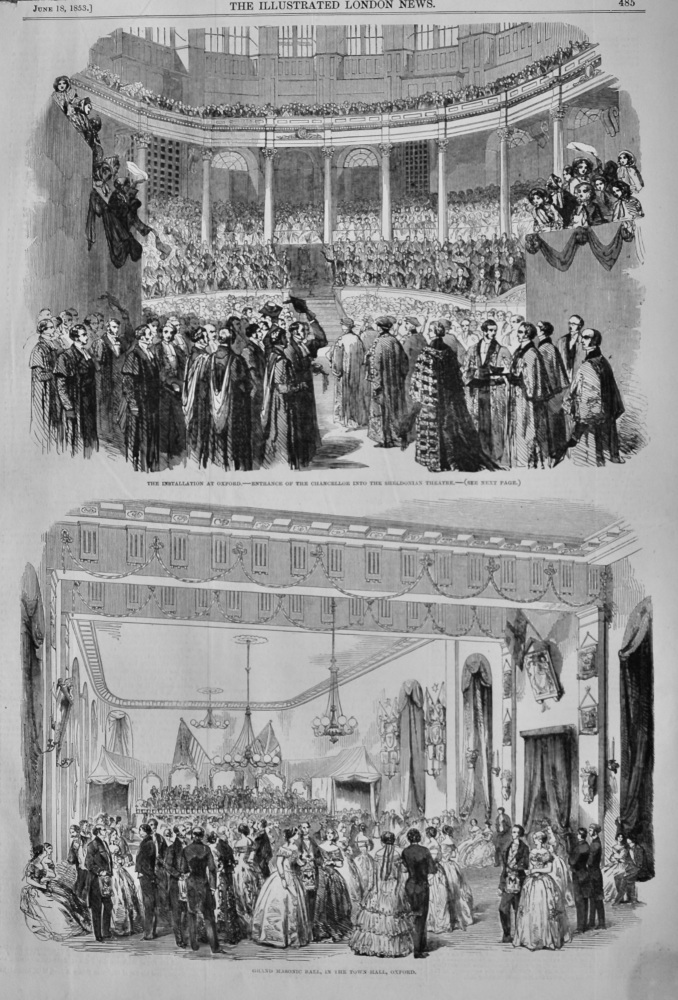 Grand Masonic Ball, in the Town-Hall, Oxford.  1853.