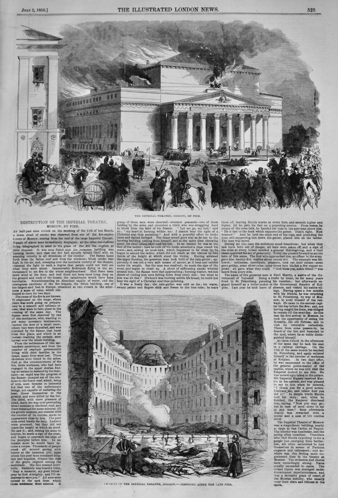 Destruction of the Imperial Theatre, Moscow, by Fire.  1853.