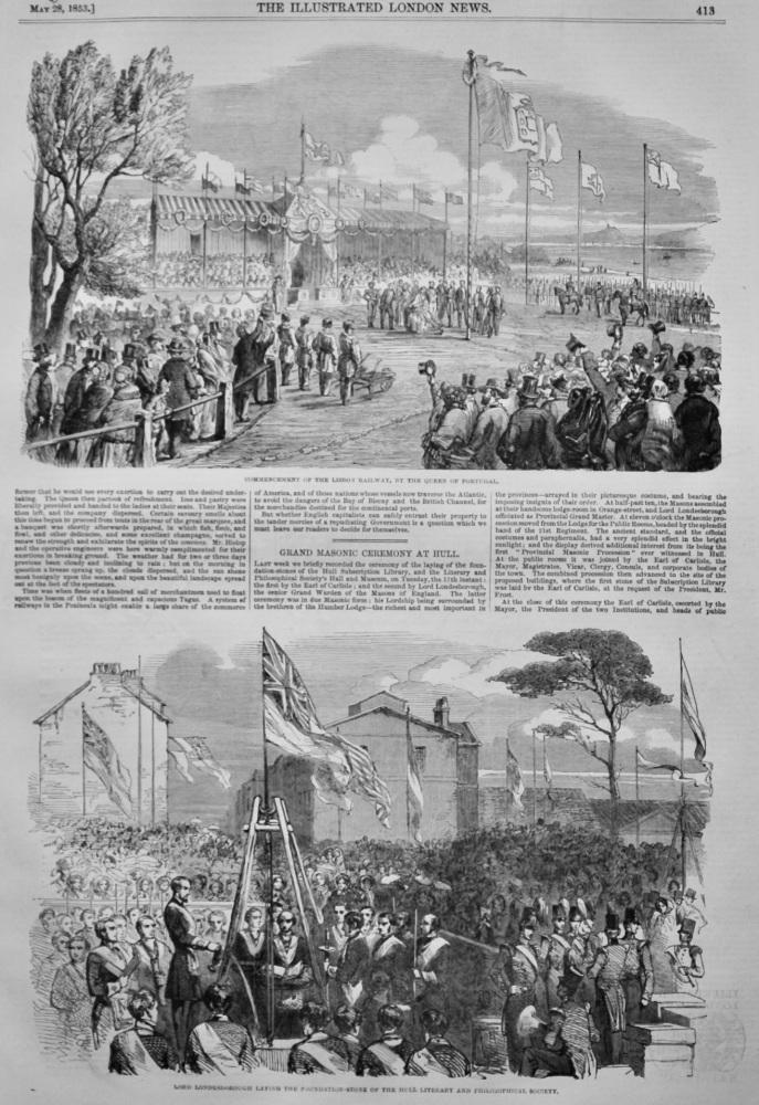 Grand Masonic Ceremony at Hull.  1853.