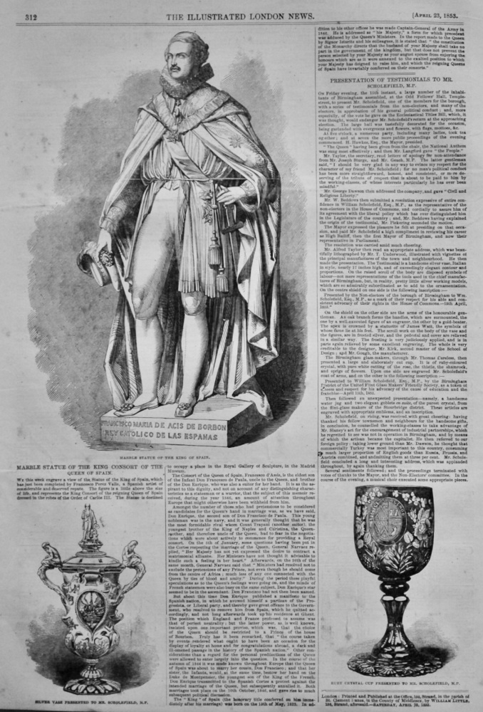 Marble Statue of the King Consort of the Queen of Spain.  1853.