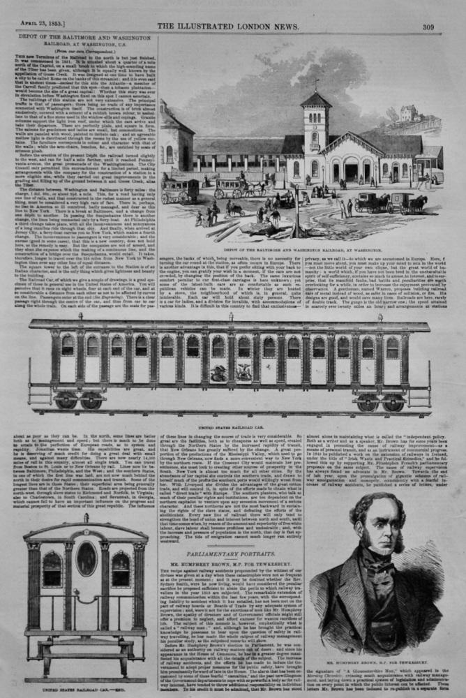 Depot of the Baltimore and Washington Railroad, at Washington, U.S.  1853.