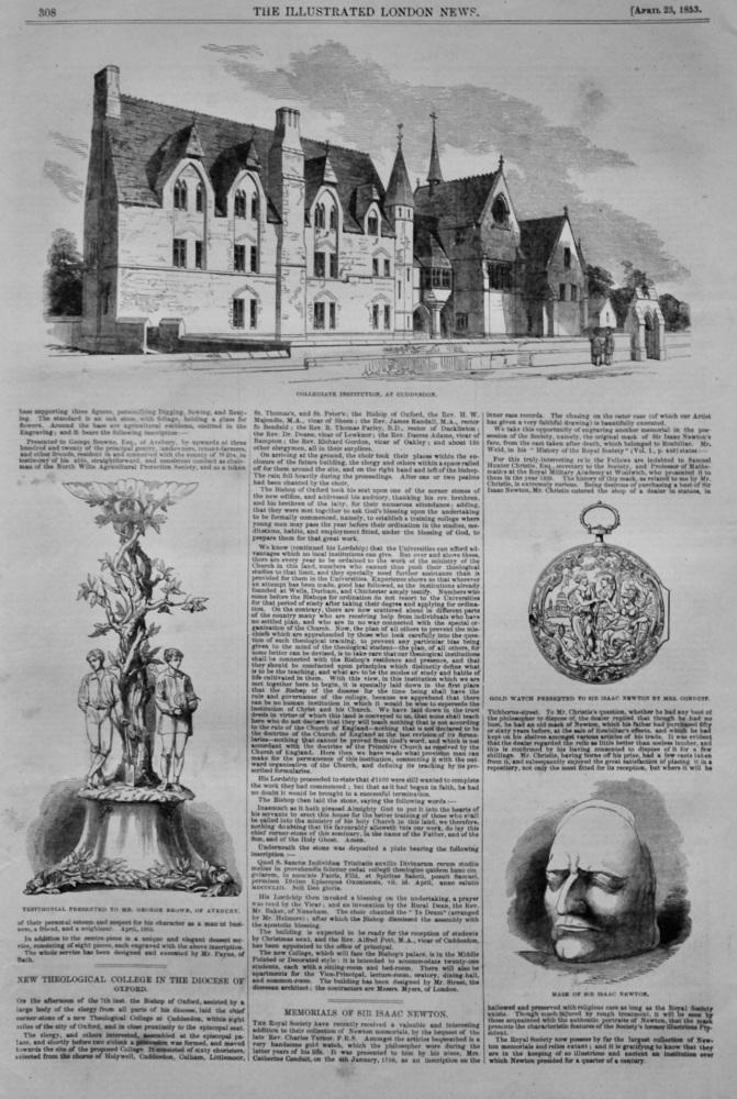Memorials of Sir Isaac Newton.  1853.