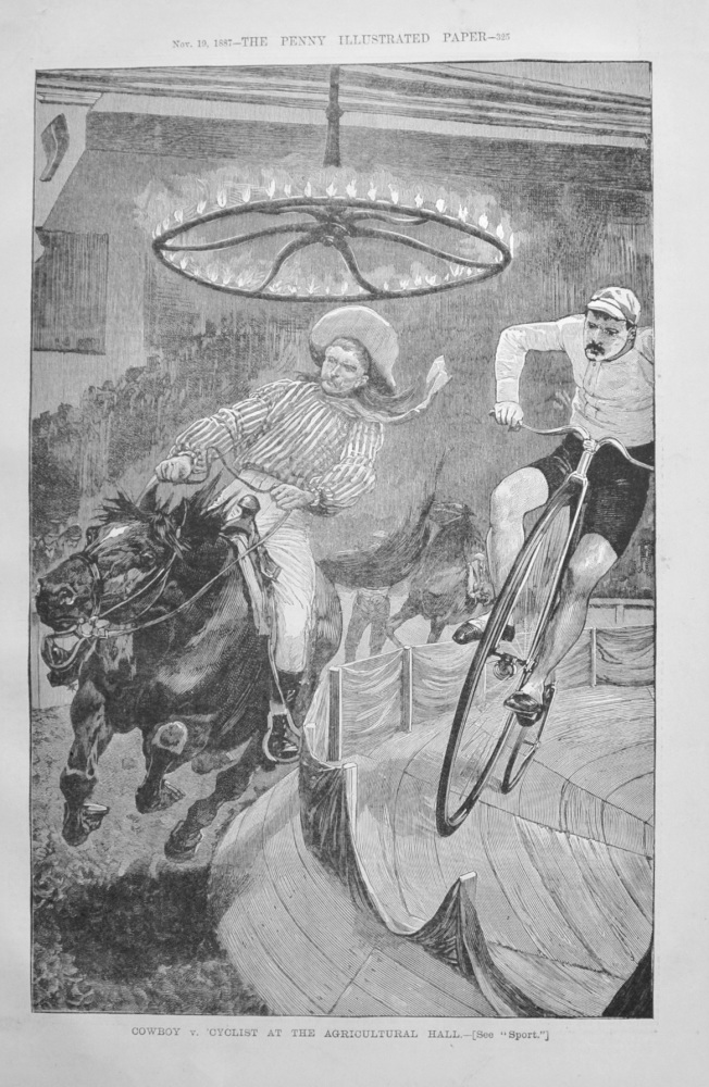 Cowboy v. Cyclist at the Agricultural Hall - 1887