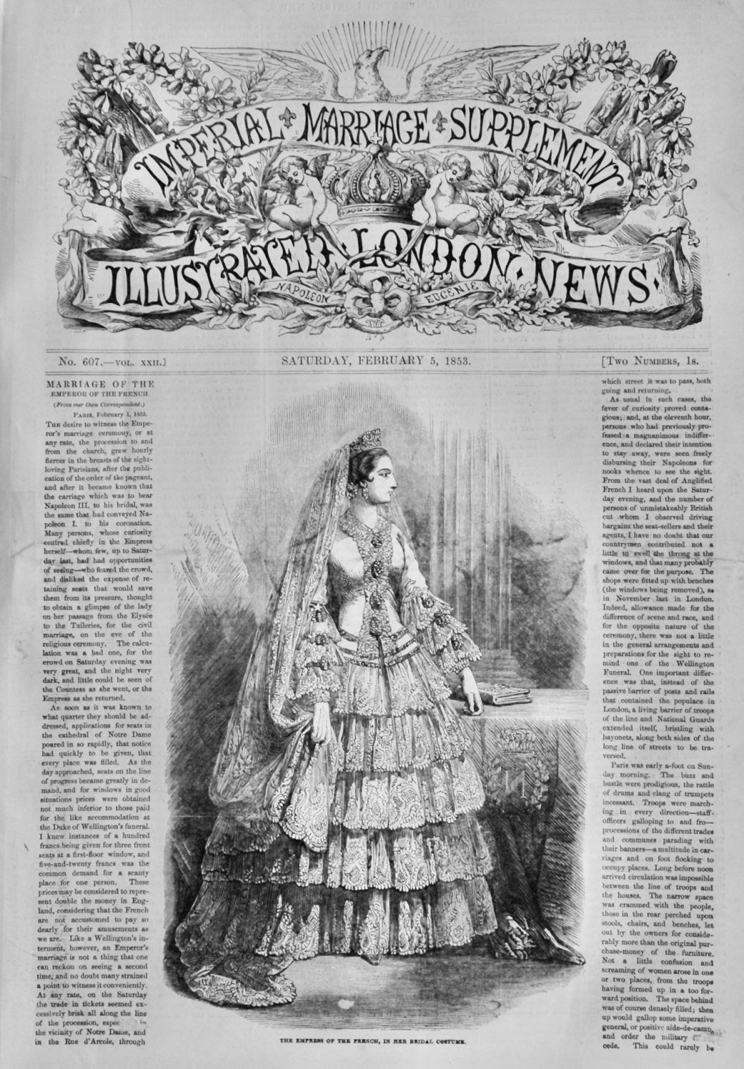 Illustrated London News : Imperial Marriage Supplement.  Feb 5th 1853.