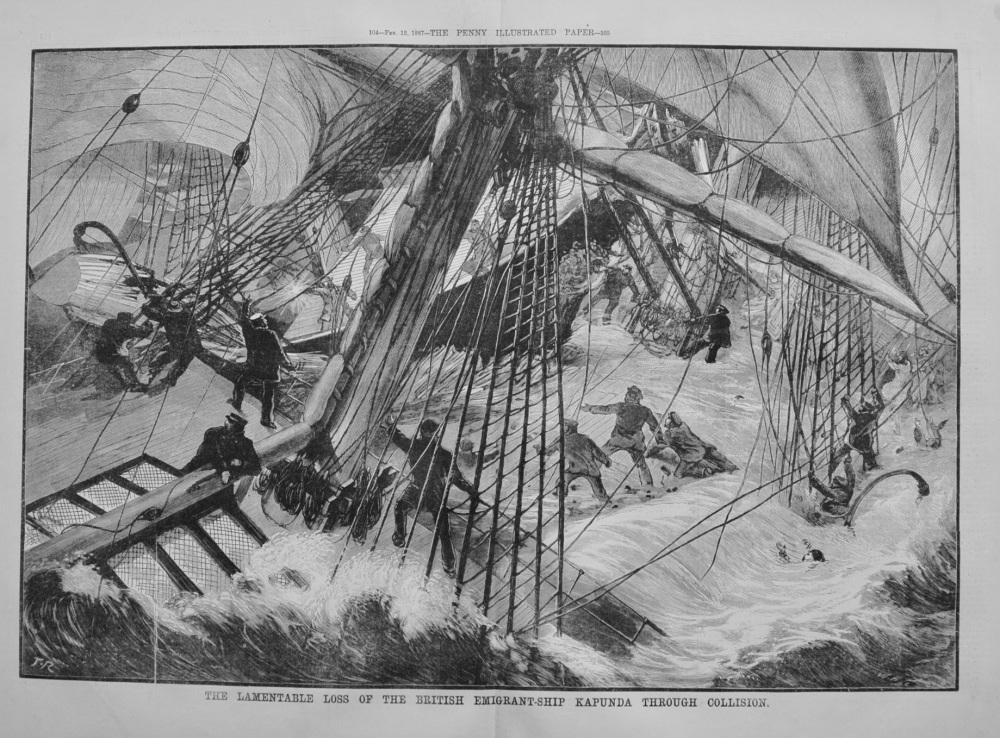 """Loss of the """"Kapunda"""" in the Atlantic Ocean - 1887"""