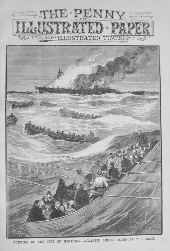 Burning of the City of Montreal Atlantic Liner - 1887