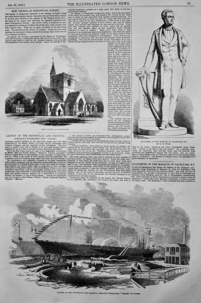 """Launch of the Peninsular and Oriental Company's Steam-ship the """"Vectis.""""at Cowes.  1853."""