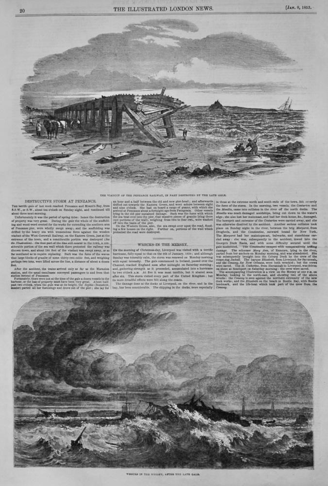 Destructive Storm at Penzance.  &  Wrecks in the Mersey.  1853.