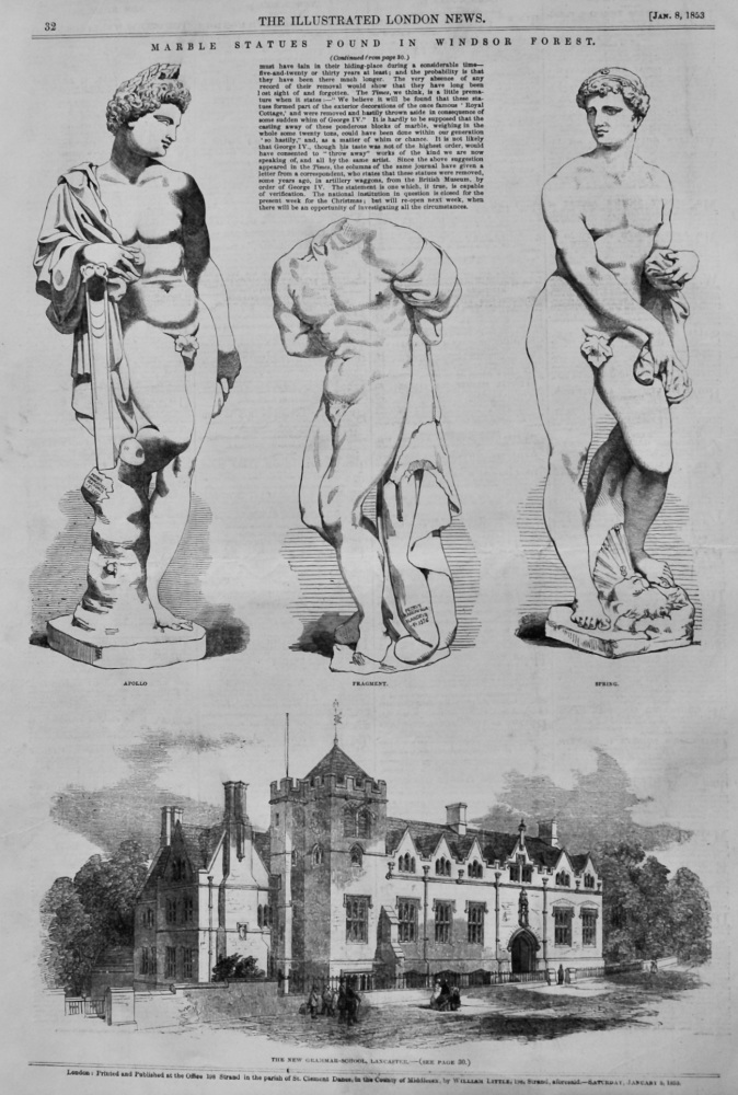 Marble Statues Discovered in Windsor Forest.  1853.