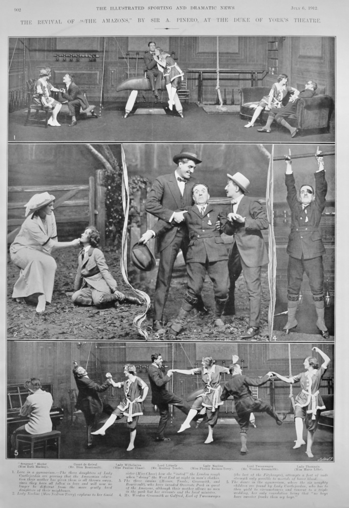 """The Revival of """"The Amazons,"""" by Sir A. Pinero, at the Duke of York's Theatre. 1912."""