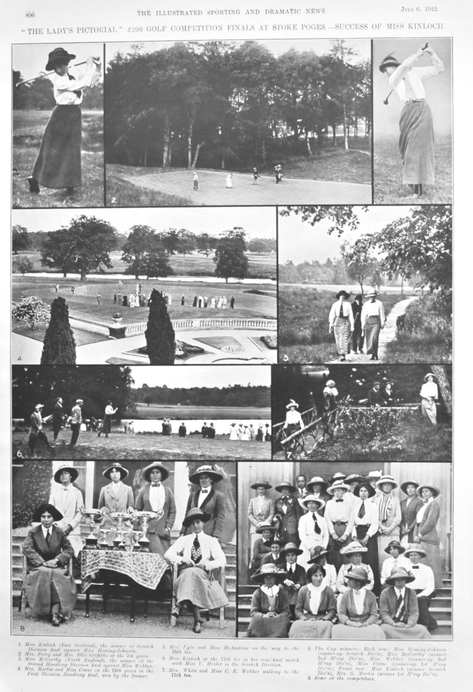"""""""The Lady's Pictorial,"""" £200 Golf Competition Finals at Stoke Pogus.- Success of Miss Kinloch.  1912."""