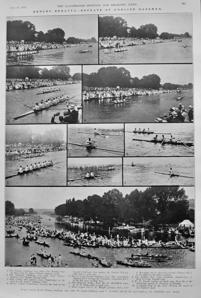 Henley Regatta.- Defeats of English Oarsmen.  1912.