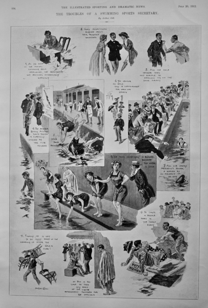 The Troubles of a Swimming Sports Secretary.  1912.
