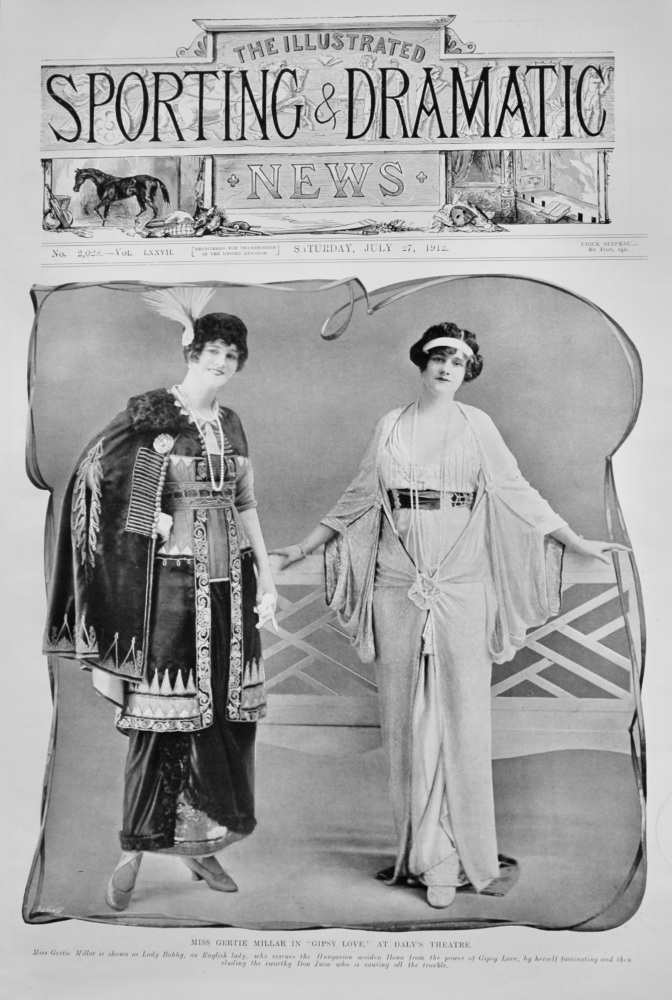 """Miss Gertie Millar in """"Gipsy Love,"""" at Daly's Theatre.  1912."""