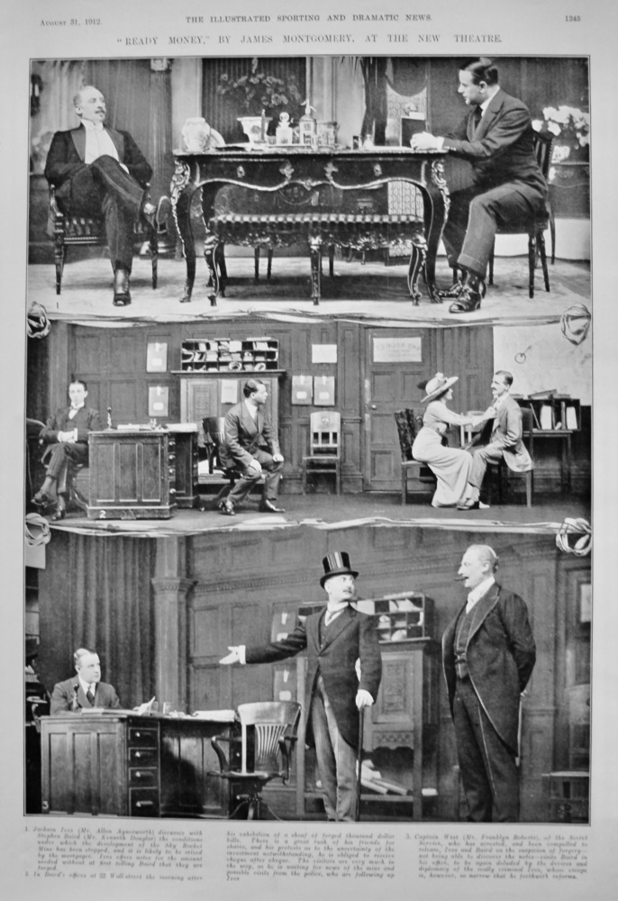 """""""Ready Money,"""" By James Montgomery, at the New Theatre.  1912."""