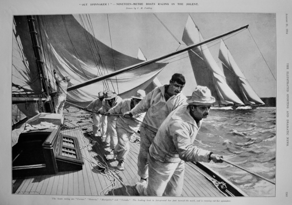 """Out  Spinnaker !""-  Nineteen-Metre Boats Racing in the Solent.  1912."