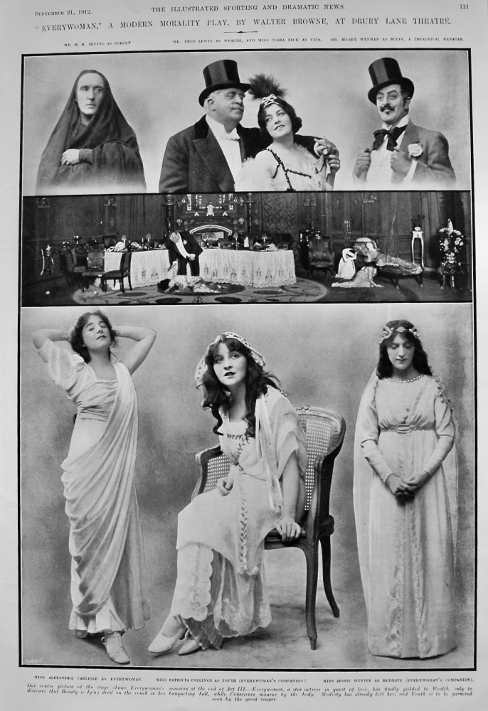"""Everywoman,"" a Modern Morality Play, by Walter Browne, at Drury Lane Theatre.  1912."