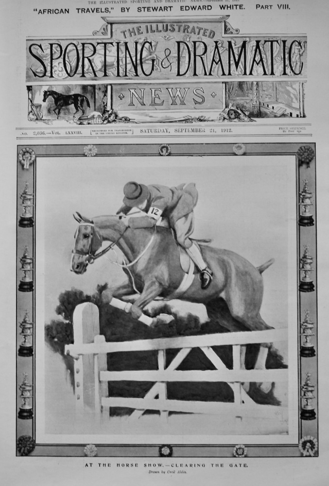 At the Horse Show.- Clearing the Gate.  1912.