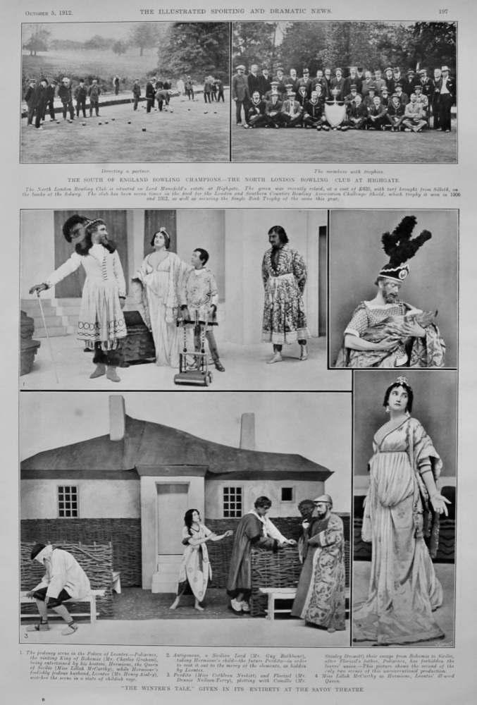 """""""The Winter's Tale,"""" given its Entirety at the Savoy Theatre.  1912."""