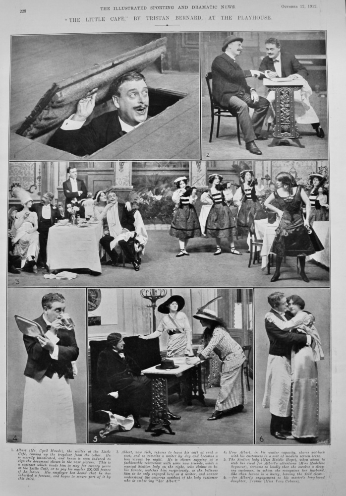 """""""The Little Cafe,"""" by Tristan Bernard, at the Playhouse.  1912."""