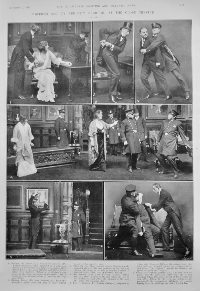 """""""Officer 666,"""" by Augustin Machugh, at the Globe Theatre.  1912."""
