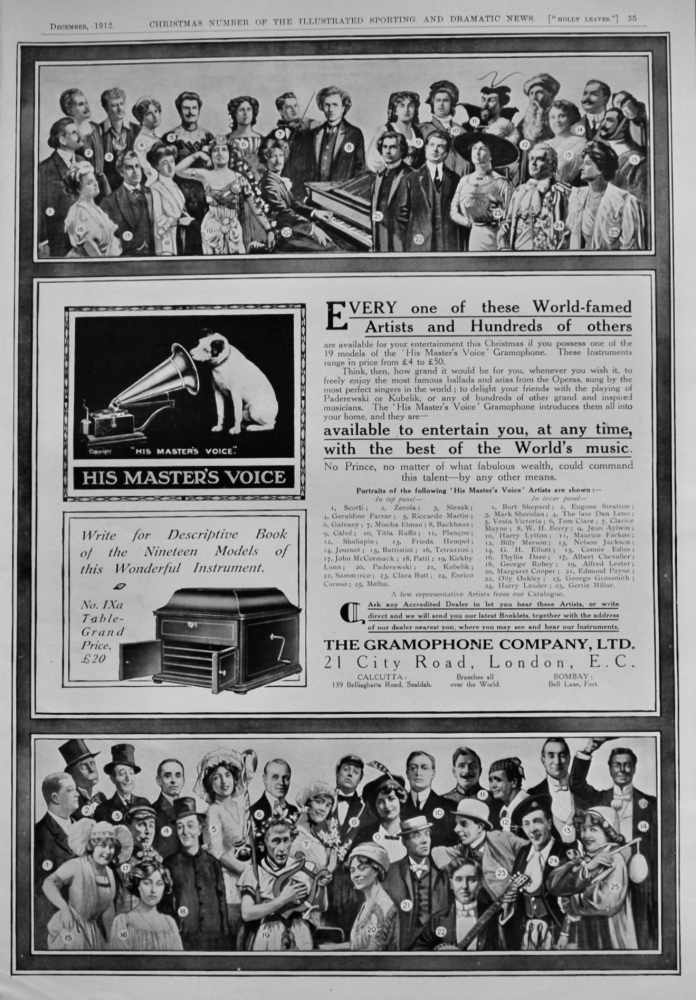 """His Master's Voice""  Gramophone.  1912."
