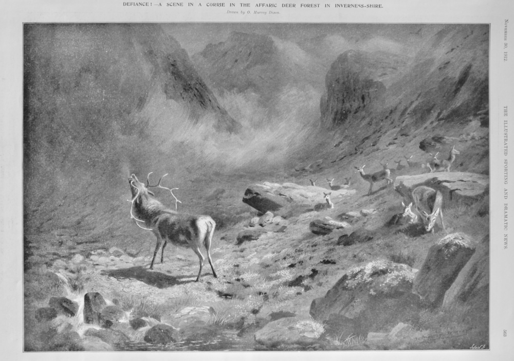 Defiance !- A Scene in a Corrie in the Affaric Deer Forest in Inverness-Shire.  1912.