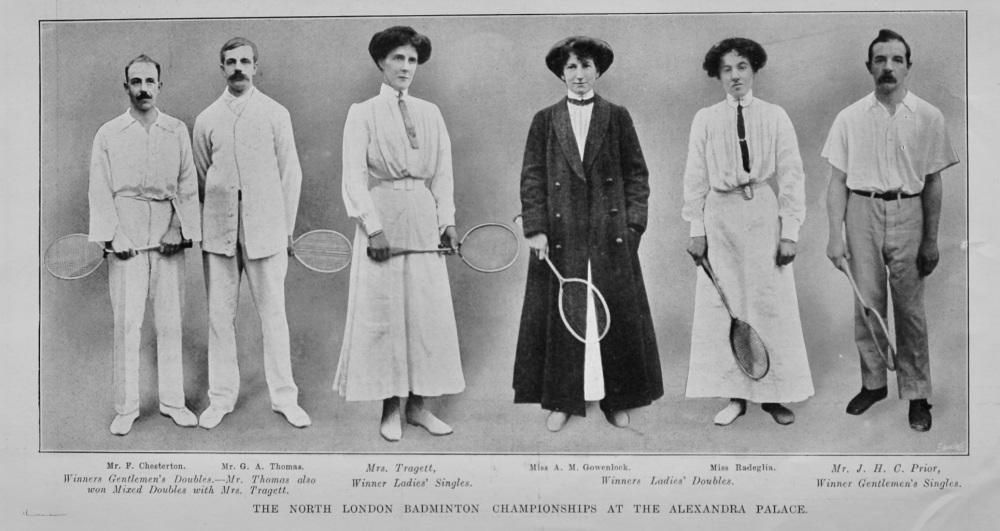 The North London Badminton Championships at the Alexandra Palace.  1912.