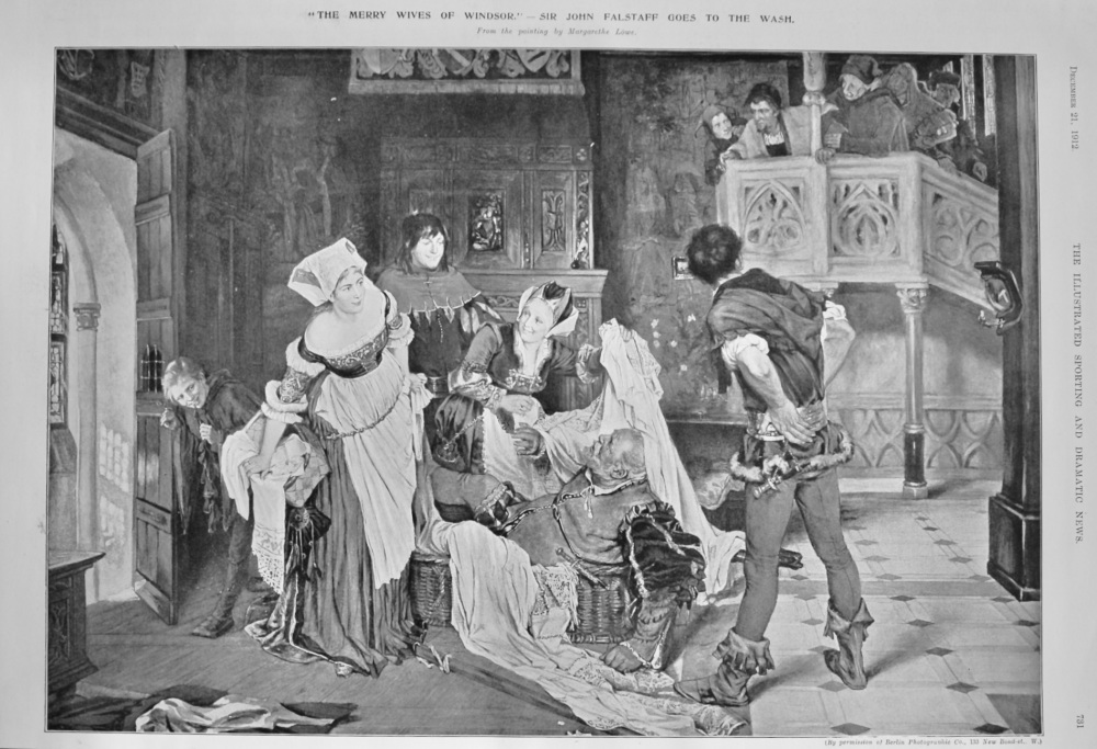 """The Merry Wives of Windsor."" - Sir John Falstaff goes to the Wash.  1912."