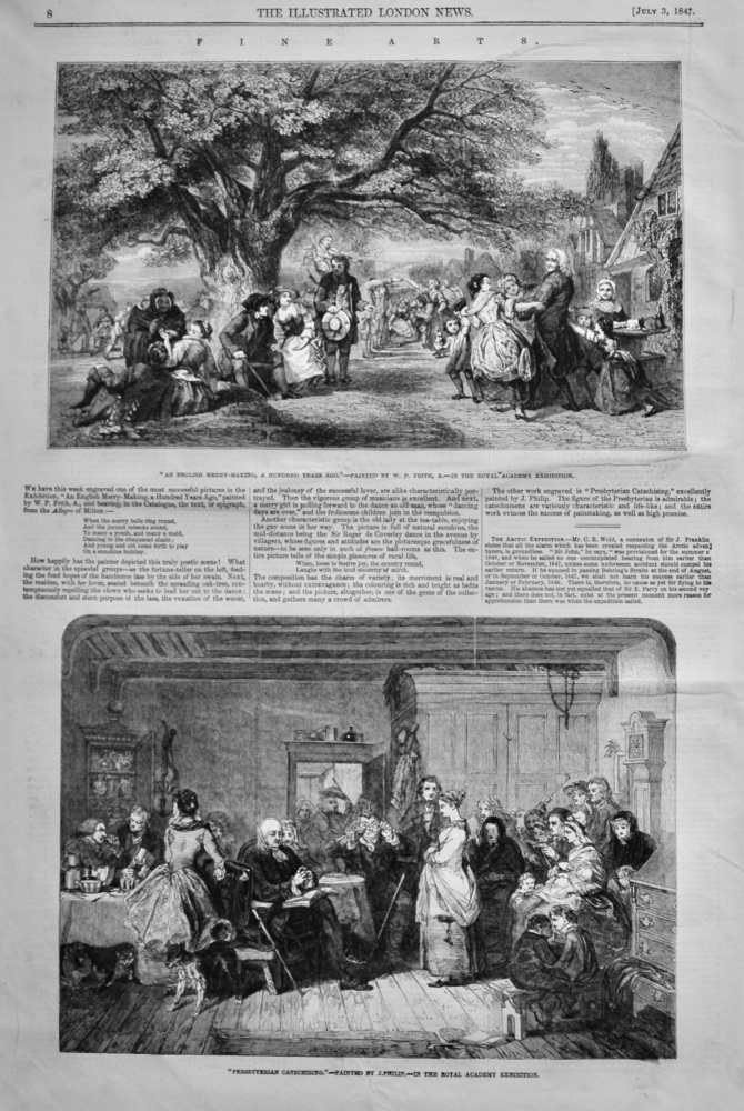 """Fine Arts. : """"An English Merry-Making, a Hundred Years Ago.""""- Painted by W.P. Frith, A.-In the Royal Academy Exhibition.  1847."""