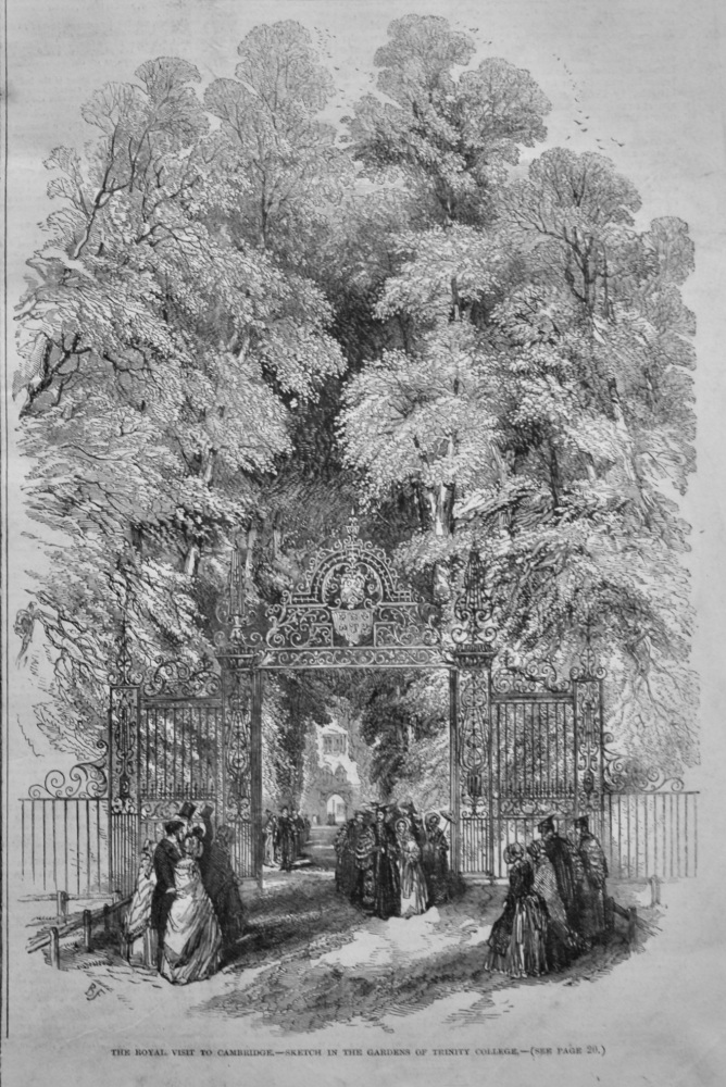 The Royal Visit to Cambridge.-Sketch in the Gardens of Trinity College.  1847.