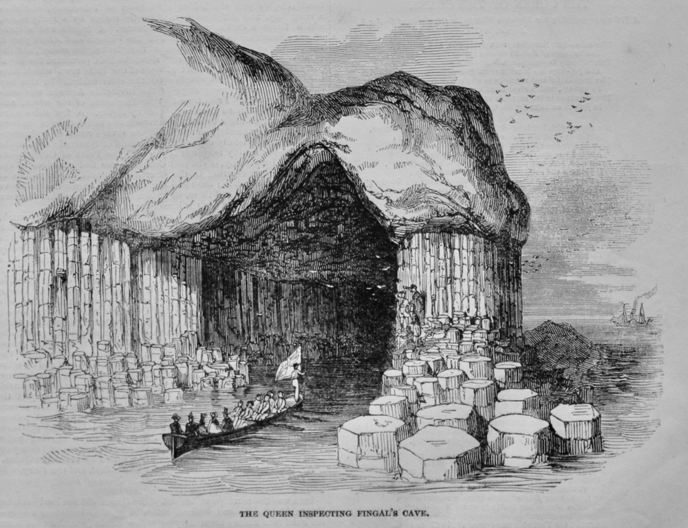 The Queen inspecting Fingal's Cave.  1847.