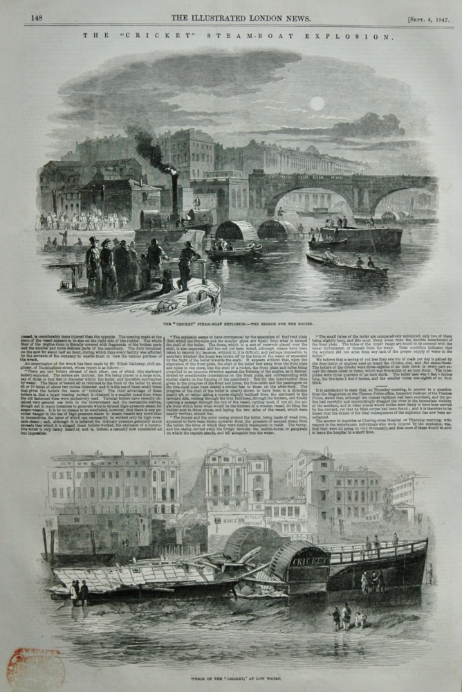"""Fatal Explosion on Board the """"Cricket"""" Steamer.  1847."""