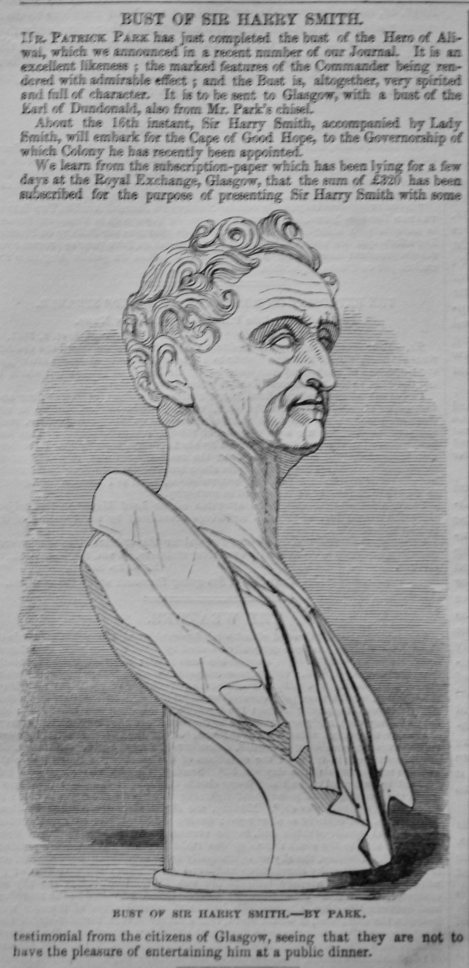 Bust of Sir Harry Smith.  1847.