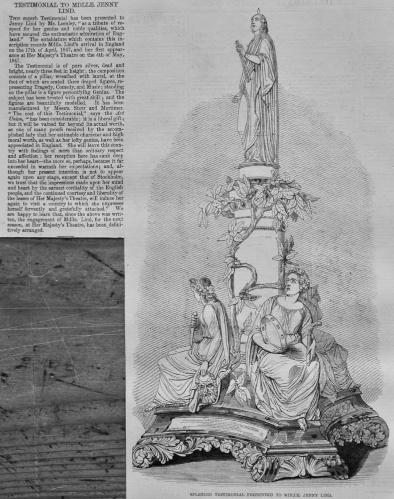Splendid Testimonial Presented to Mdlle. Jenny Lind.  1847.