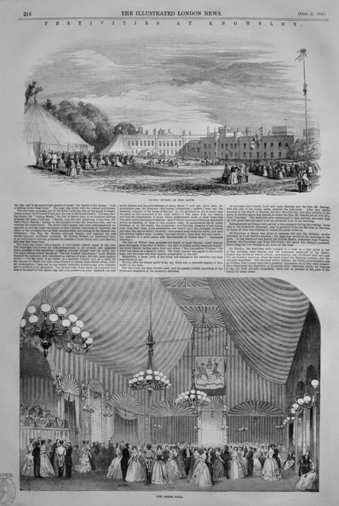Festivities at Knowsley.  1847.