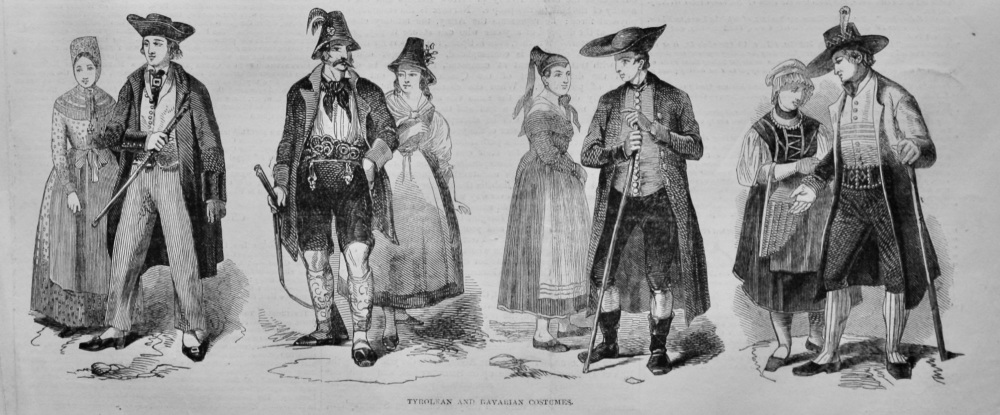 Tyrolean and Bavarian Costumes.  1847.