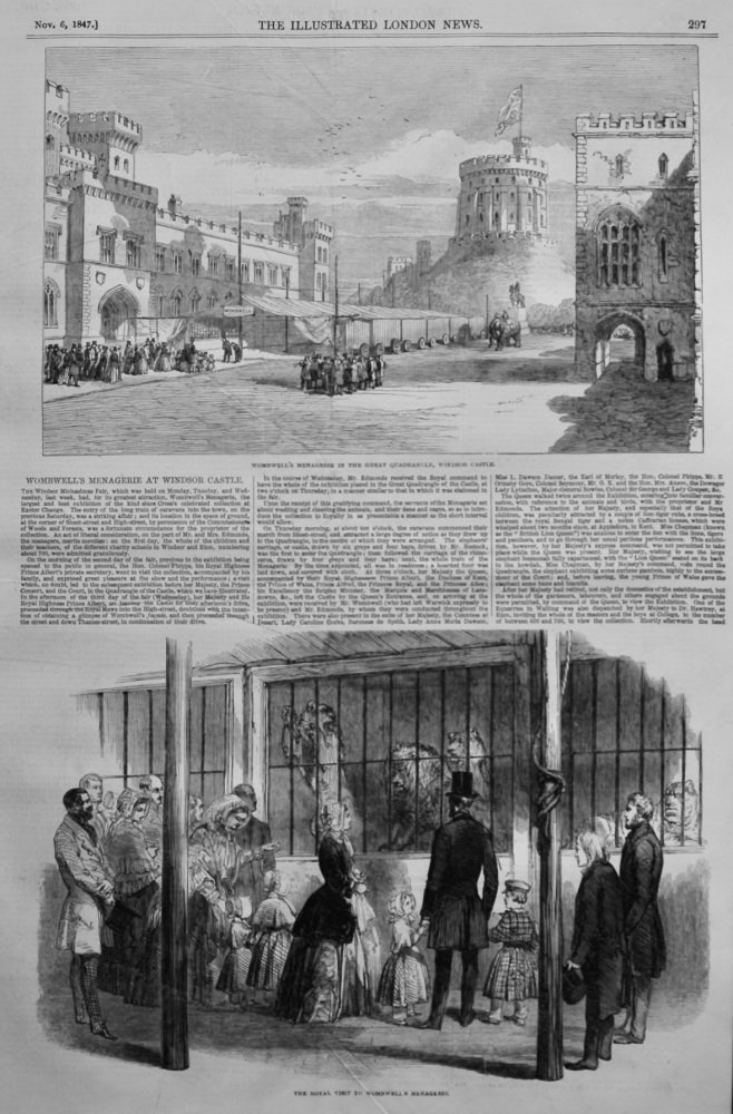Wombwell's Menagerie at Windsor Castle.  1847.