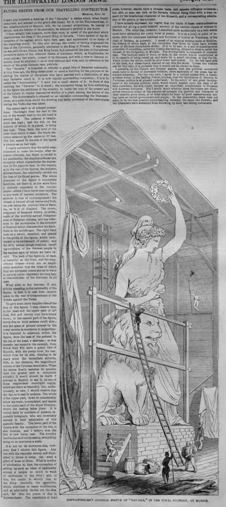 """Schwanthaler's Colossal Statue of """"Bavaria,"""" in the Royal Foundry, at Munich.  1847."""
