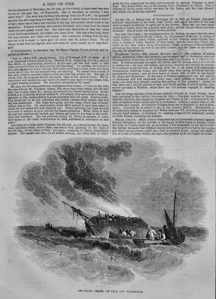 American Vessel on Fire off Weymouth.  1847.