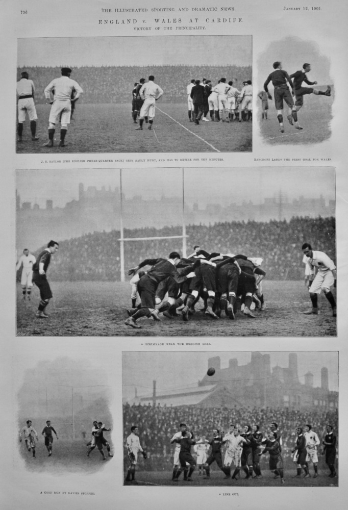 England v. Wales at Cardiff  :  Victory to the Principality.  (Rugby) 1901.