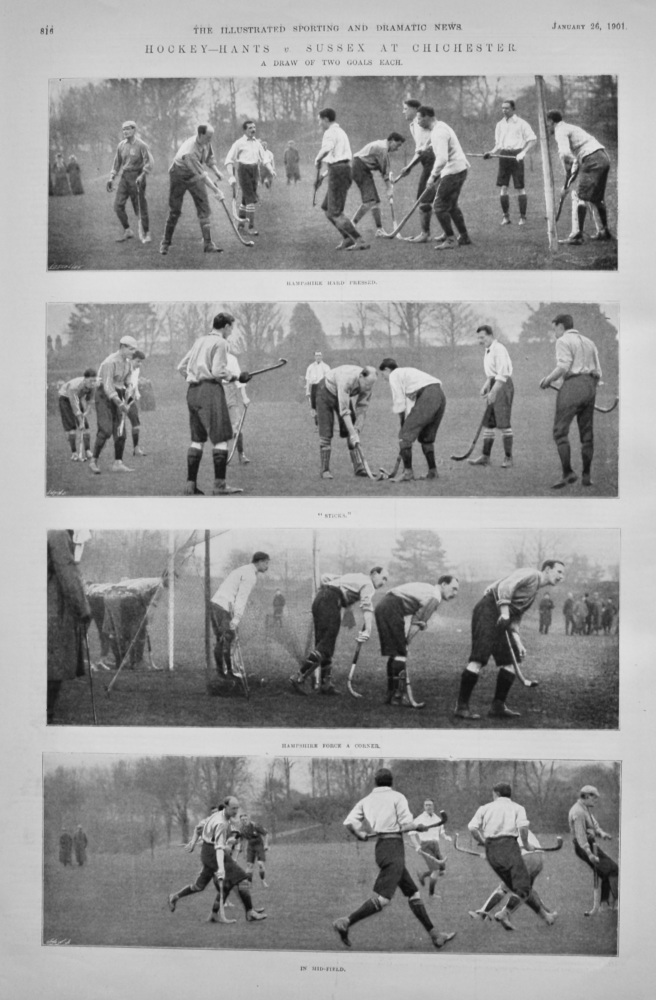 Hockey- Hants v. Sussex at Chichester.  1901.