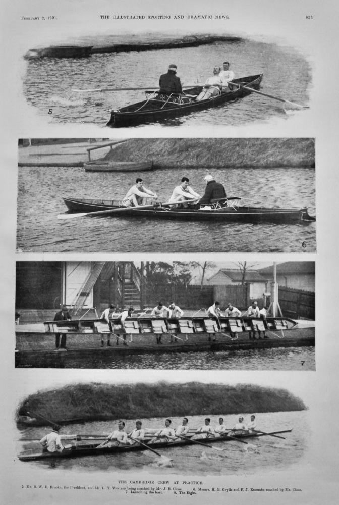 The Cambridge Crew at Practice.  1901.