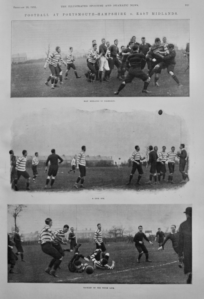 Football at Portsmouth- Hampshire v. East Midlands.  (Rugby) 1901.