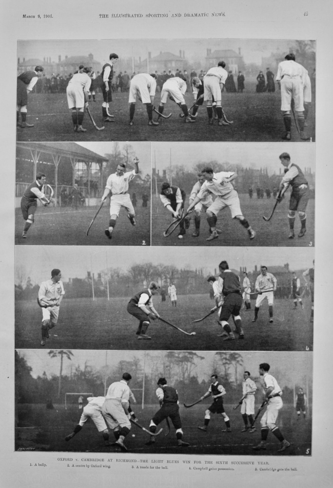 Oxford v. Cambridge at Richmond-The Light Blues win for the Sixth Successive Year.  (Hockey)  1901.